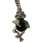 """SALE Pewter Frog Green Glass Jelly Belly Pendant Signed CCI 8129 on 24"""" Chain"""