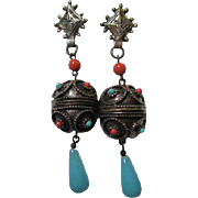 Fabulous Boho fx Coral and Turquoise Antiqued Gold Tone with Blue Glass Dangle Clip Earrings .