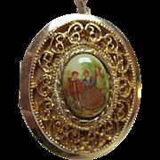 SALE Limoges Fragonard Romantic Couple Porcelain Locket Substantial Bale on Heavy Rope Chain .