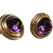 SALE Huge Deep Purple Amethyst Faceted Glass Gold tone Round Clip Earrings Signed