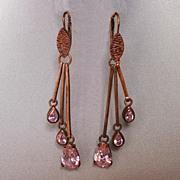 Seventies chandelier earrings copper tone metal pink zircon drops