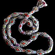 SALE Embroidered vintage necklace tassel snake skin miniature glass beads