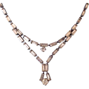 Singular Austrian vintage necklace fine crystal baguettes light topaz color