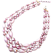 Three strand pink vintage bead necklace estate jewelry
