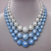 Three strand blue gray vintage bead necklace