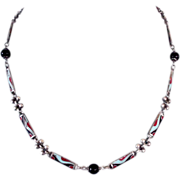 Vintage silver necklace cloisonné enamel silver onyx beads