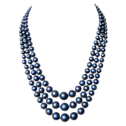 Indigo blue glass pearls 3 strands vintage necklace