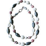 Venetian lampwork sea gray white vintage long necklace.
