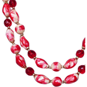 Two strand red pink white glass plastic crystal beads vintage necklace