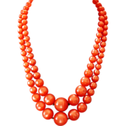 Orange color cellulose plastic ball bead vintage necklace