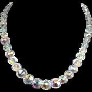 Swarovski 1950's crystal bead choker aurora borealis costume vintage jewelry