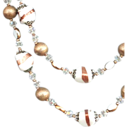 Two strand vintage necklace Swarovski crystals white copper gold toned glass beads