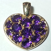 SALE 14K Gold Amethyst Heart Pendant & Necklace