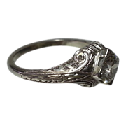 SALE Vintage 18K White Gold & Diamond Filagree Ring .62 CT