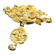 SALE Estate Vintage 19.5 K. Yellow Gold Repousse'  Brooch