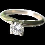 SALE Vintage Estate14K White Gold .35carat Round Diamond Engagement Ring