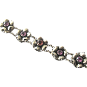 SALE Rare  Sterling Silver Hobe' Bracelet With Paste Amethyst