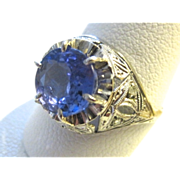 SALE A Stunningly Beautiful Art Deco Platinum Ring With Natural Tanzanite And Rose Cut Diamond