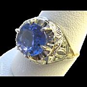 SALE Art Deco Platinum Ring With Tanzanite & Rose Cut Diamonds