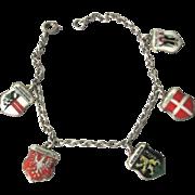 SALE German 935 Silver Enamel Traveling Shield Charm Bracelet