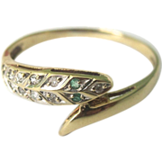 SALE Vintage 18K Yellow Gold Diamonds & Emerald Snake Ring