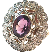 SALE European Art Deco Platinum 18K Amethyst and Diamond Ring