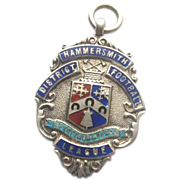 European Sterling Silver Enameled Football Award Shield/Fob 1934
