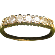 SALE Estate 14K Yellow Gold Diamond Wedding Band