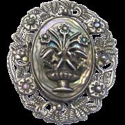 SALE SALE! Estate Vintage Sterling Silver Abalone 3D Brooch/Pendant