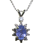 SALE Dazzling 14K Oval Tanzanite & Diamond Pendant