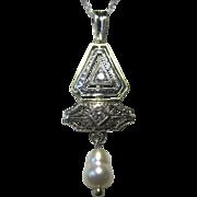 SALE Art Deco 14K, Platinum, Diamond Pendant With Rice Cultured  Pearl