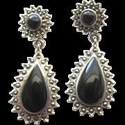 SALE Sale! Sterling Silver Black Onyx & Marcasite Dangle Earrings
