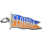 Vintage Sterling Silver & Enamel Florida State Banner Charm