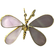 SALE Spectacular!  18K Yellow Gold Amethyst & Diamond Moving Butterfly Pendant