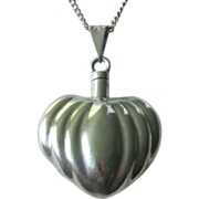 SOLD Vintage Sterling Silver Puffed Heart Perfume Pendant