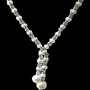 SALE Vintage Sterling Silver Baroque Cultured Pearl Drop Necklace