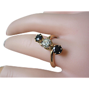 SALE Beautiful Victorian Ring 18K YG. 55ct. Diamond With Two Sapphires
