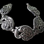 Vintage European Sterling Silver Rose Link Bracelet
