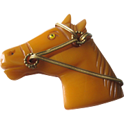 SALE Vintage Bakelite Butterscotch Horse Head Brooch With Glass Eye And Brass Bridle