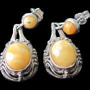 "SALE Vintage Sterling Silver Dangle ""Amber""  Earrings"