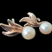 Vintage 14K YG 3 Leaf Round Cultured Pearl Earrings