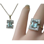 SALE Vintage Art Deco Aqua Diamonds 18K Platinum Ring Pendant Set