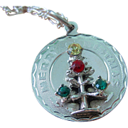 Vintage Sterling Silver 3D Merry Christmas Tree Pendant/Charm