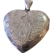 SALE Sale!  Huge Vintage Double Heart Sterling Silver Locket Mid 50's Era