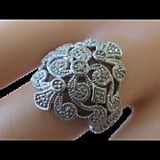 SALE Estate Piece Huge Sterling Silver Genuine Diamond Cocktail Ring