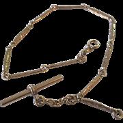 SALE Vintage Gold Filled Bar Link Pocket Watch Chain