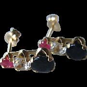Vintage 14K YG Ruby, White Spinel, Blue Sapphire Stud Earrings