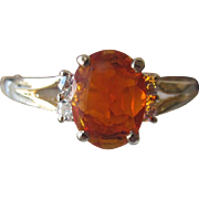 Vintage 14K YG Mexican Fire Oval Opal Ring With Diamond