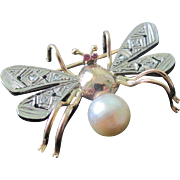 SALE European Bug Brooch 18K Rose Gold Platinum Diamonds Rubies Cultured Pearl