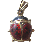 SALE Vintage 14K YG Adorable Beetle Bug With Enamel Pendant